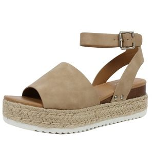 Shoes - Taupe Open Toe Halter Ankle Strap Espadrille